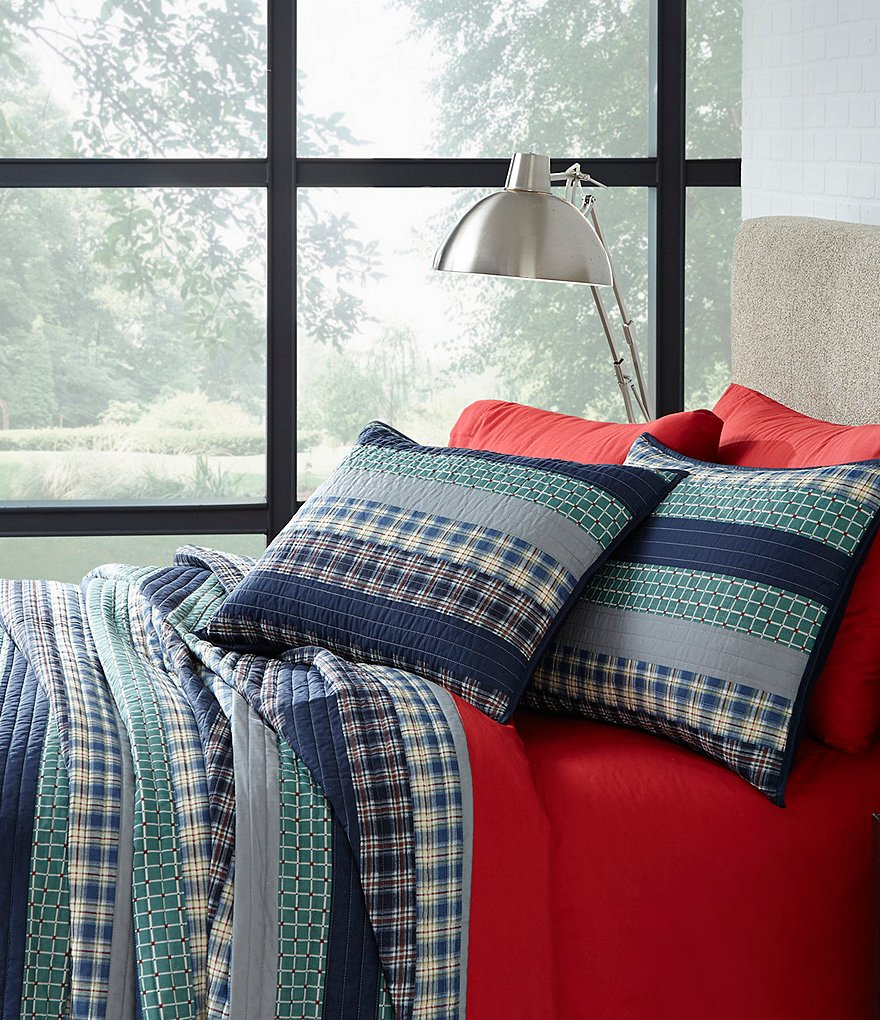 Studio D Back to Campus Quadrants Striped Plaid Cotton Quilt Mini Set with Mesh Laundry Hamper