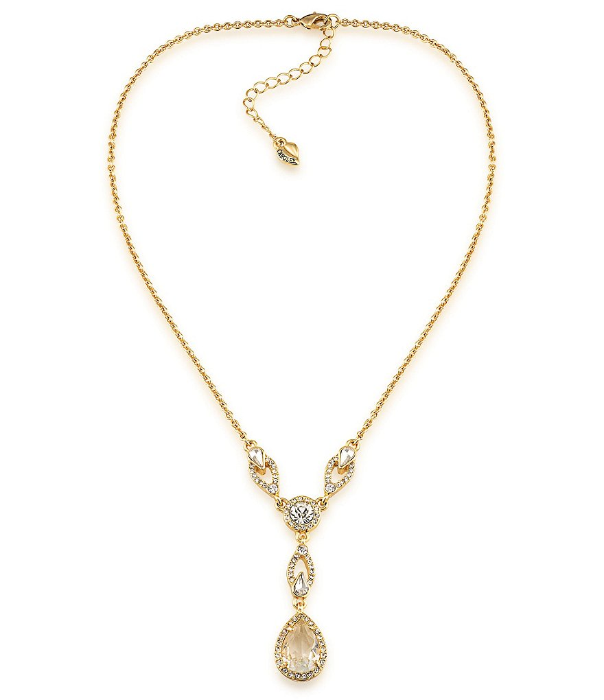 Carolee Columbus Circle Teardrop Pendant Y-Necklace