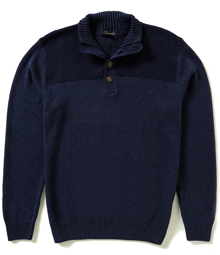 Roundtree & Yorke Casuals Button Mock Plaited Pullover