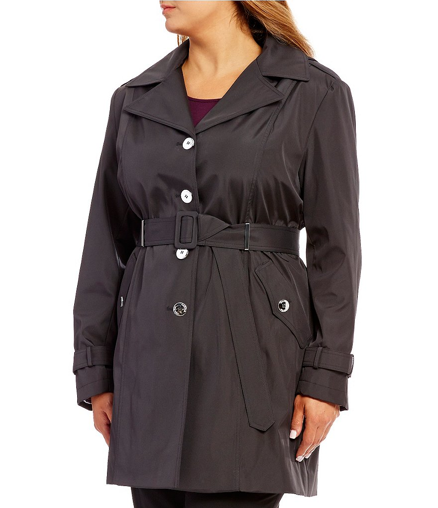 Calvin Klein Plus Single Breasted Belted Rain Trench Coat