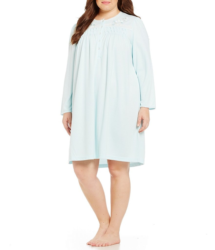 Miss Elaine Plus Honeycomb-Knit Nightgown