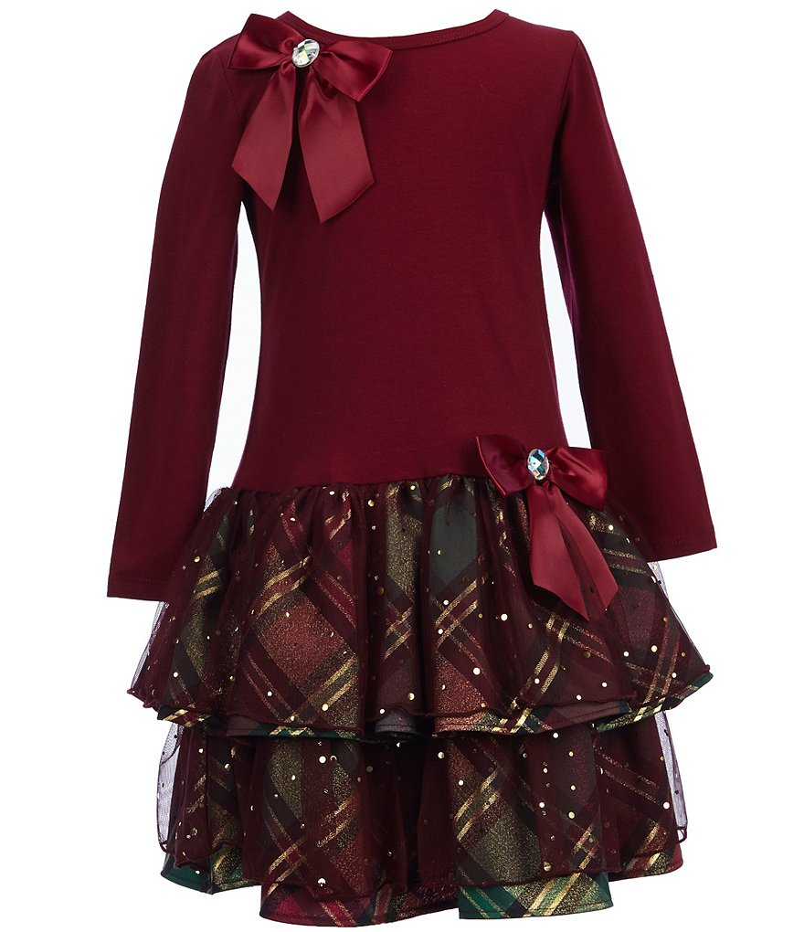 Bonnie Jean Little Girls 2T-4T Velvet Tiered Holiday Plaid Dress
