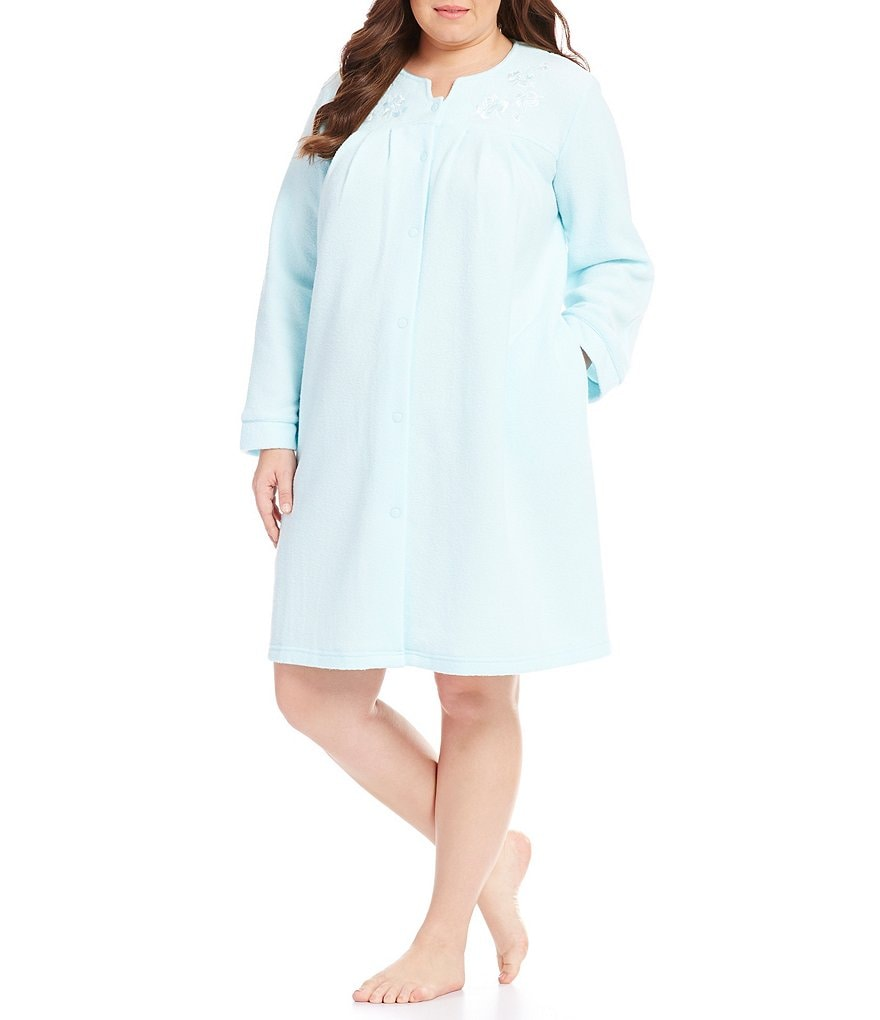 Miss Elaine Plus Honeycomb Terry Grip-Front Robe