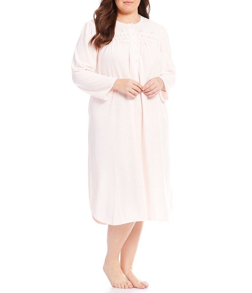 Miss Elaine Honeycomb-Knit Nightgown