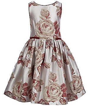 Pippa & Julie Little Girls 2T-6X Jacquard Floral A-Line Dress