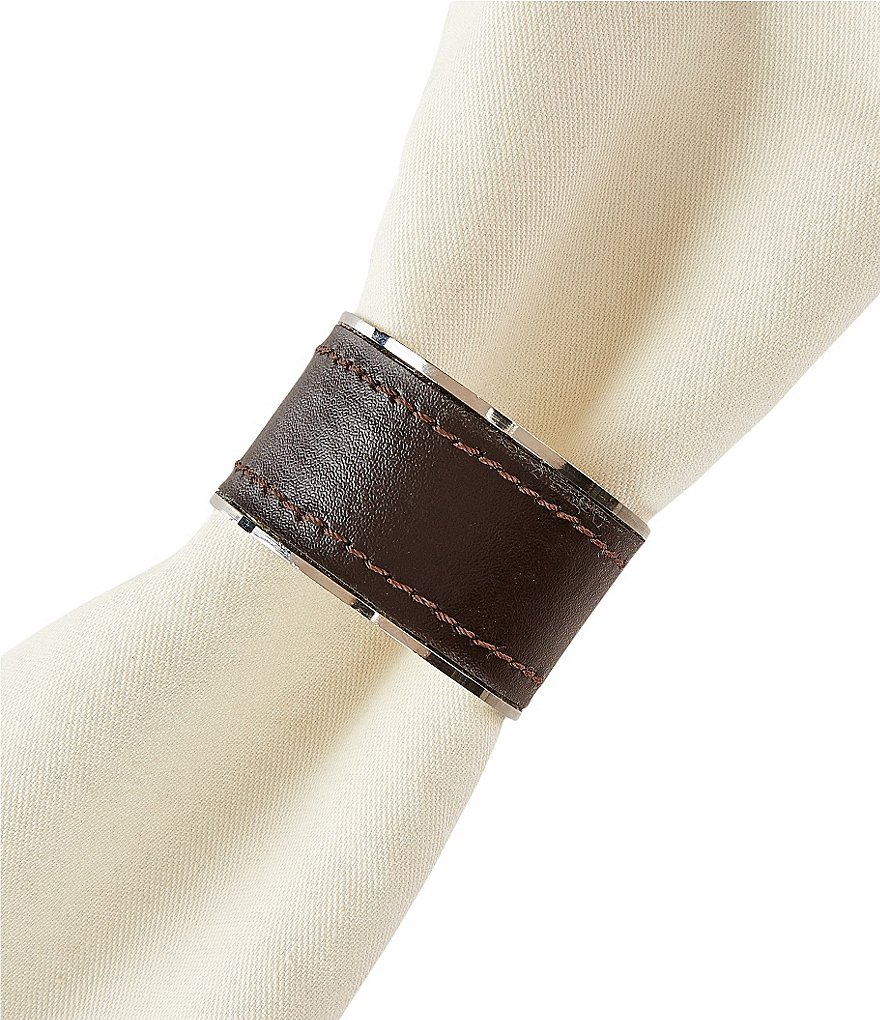 Southern Living Metal-Trimmed Leather Napkin Ring