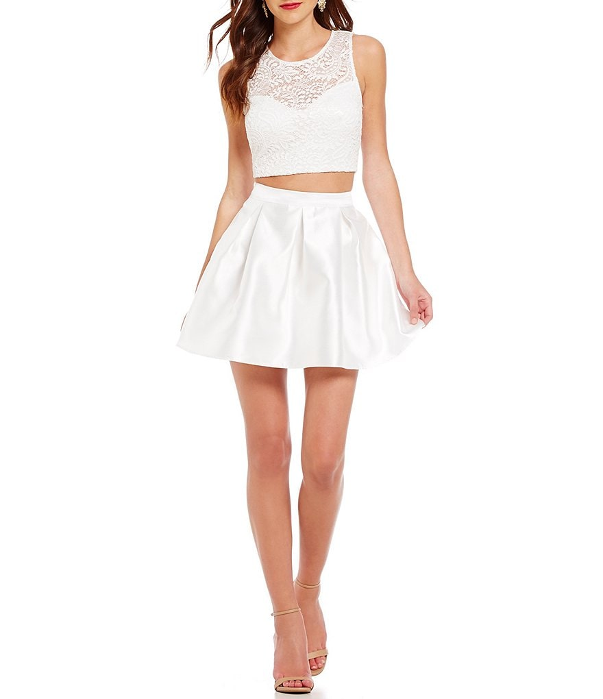 Teeze Me Illusion-Yoke Lace Top Two-Piece Party Dress