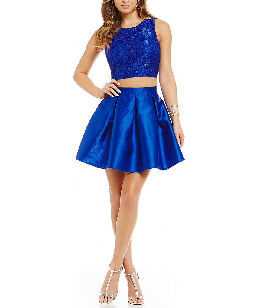 Teeze Me Lace Top Two-Piece Party Dress