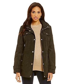 Michael Michael Kors Mid Length Rain Anorak With Detachable Hood