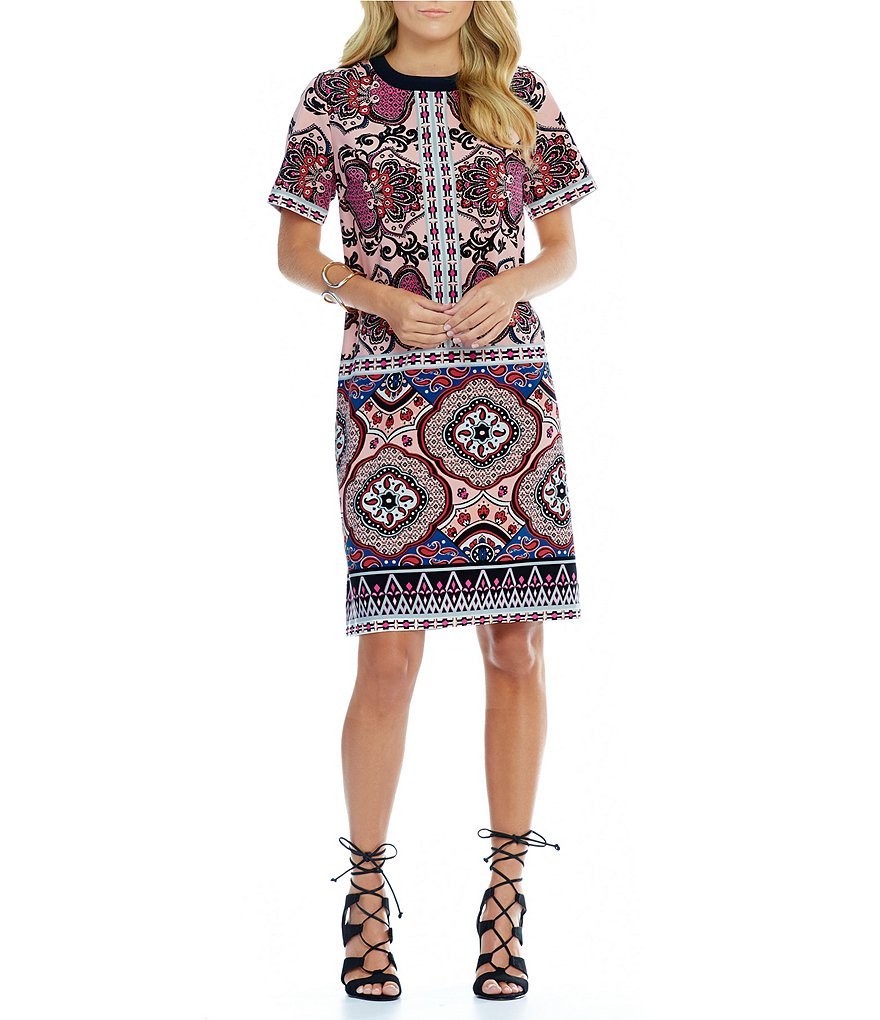 Gibson & Latimer Mixed Print Shift Dress