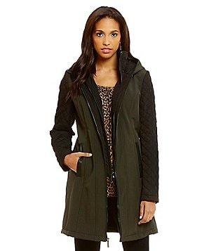 MICHAEL Michael Kors Mixed Media Soft Shell Quilted-Sleeves Hooded Coat