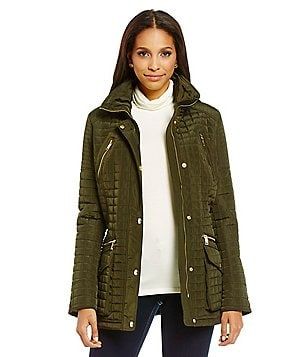 Michael Michael Kors Zip Front Quilted Coat With Packable Hood