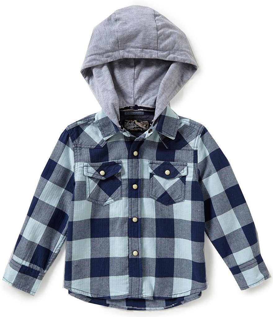 First Wave Little Boys 2T-7 Hooded Woven Plaid Shirt
