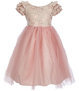 Laura Ashley London Little Girls 2T-6X Flutter-Sleeve Brocade Tulle Dress