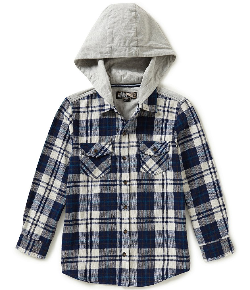 First Wave Big Boys 8-20 Plaid Hooded Woven Shirt