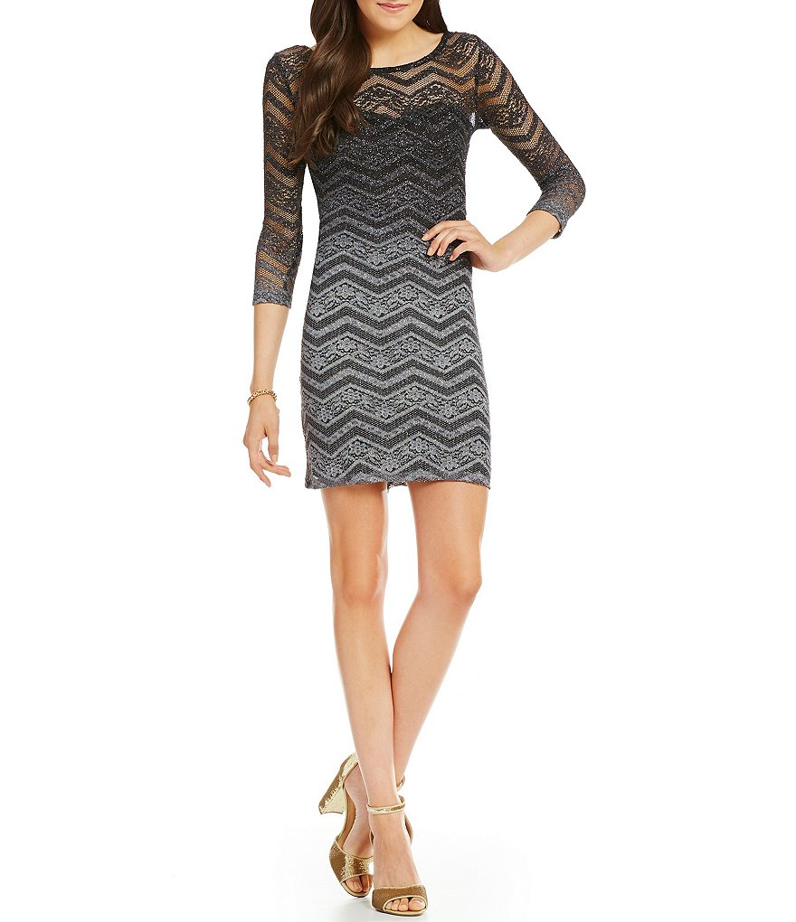 Jump Ombre Glitter Lace 3/4 Sleeve Sheath Dress