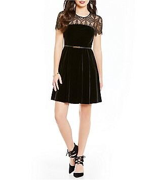 Jessica Simpson Lace Trim Belted Velvet Dress