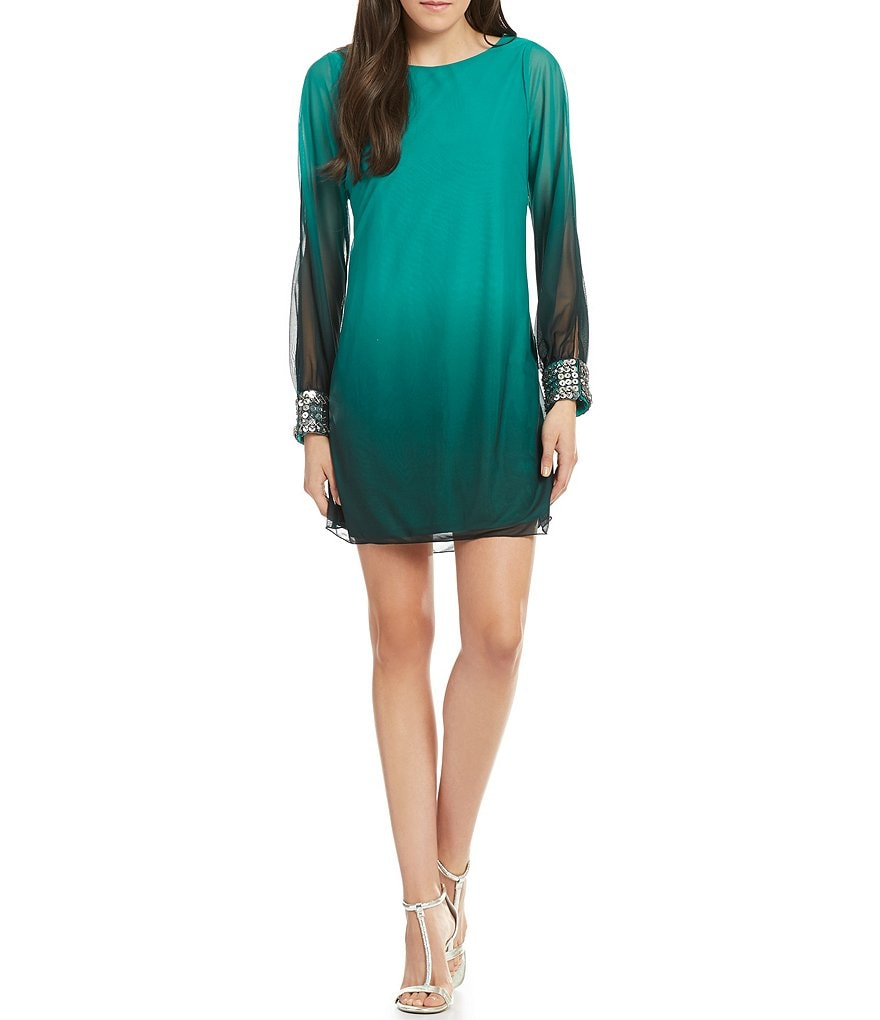 I.N. San Francisco Embellished Cuff Ombre Shift Dress