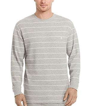 Polo Ralph Lauren Waffle-Knit Horizontal Striped Long-Sleeve Crewneck