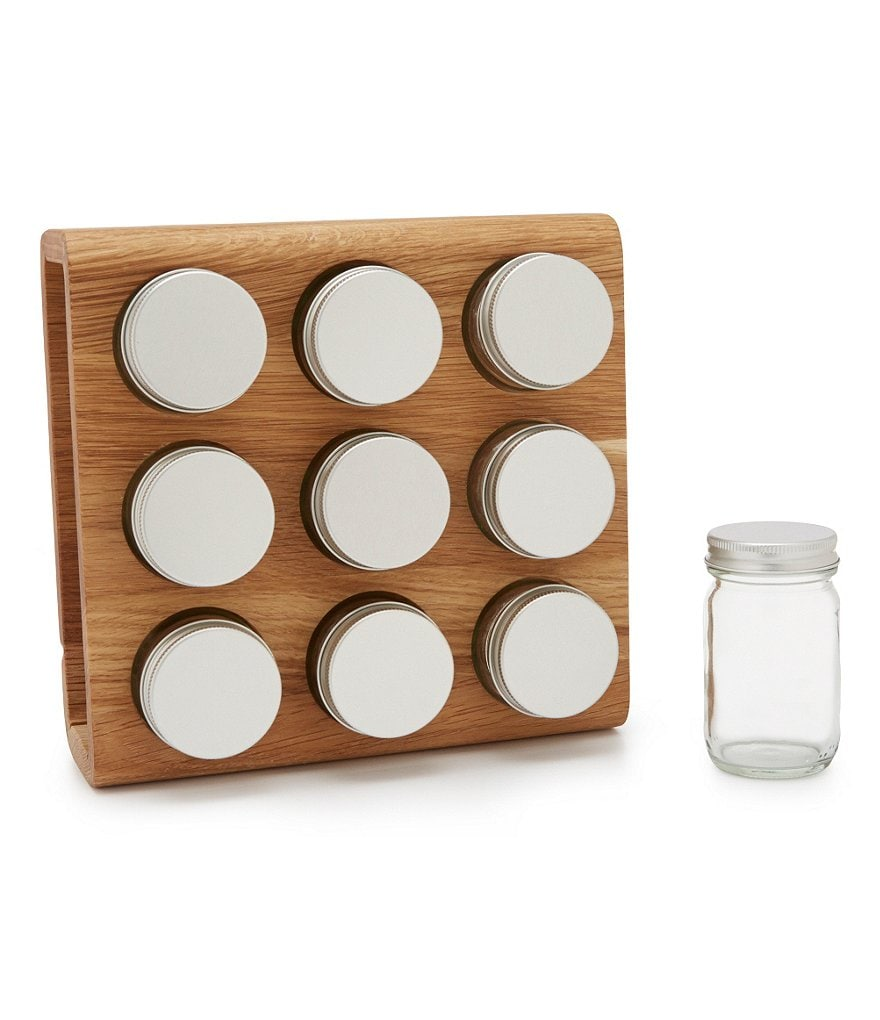 Tru Chef 9-Jar Oak Wood Spice Rack