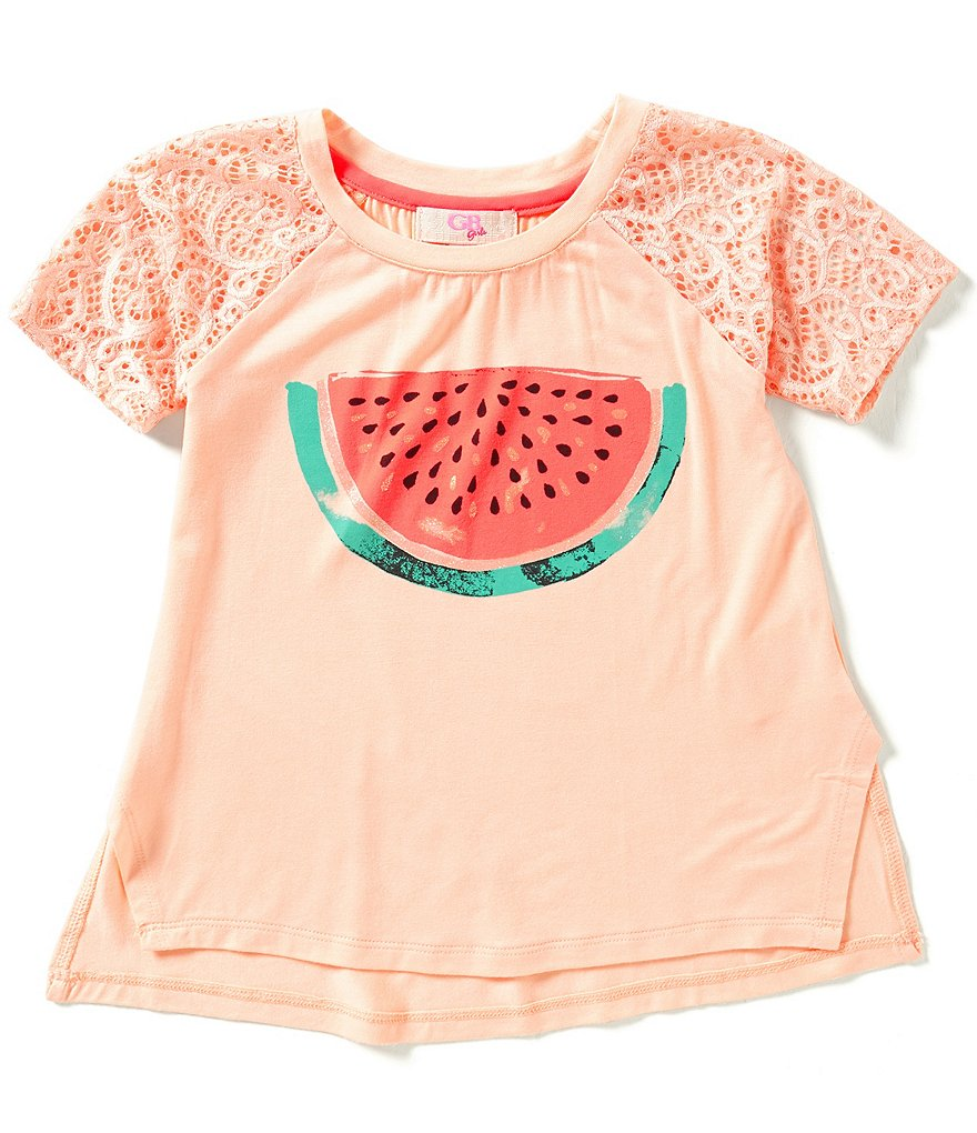 GB Girls Little Girls 4-6X Lace-Sleeve Watermelon Tee