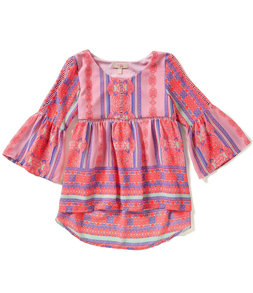 GB Girls Little Girls 4-6X Printed Bell-Sleeve Peasant Blouse