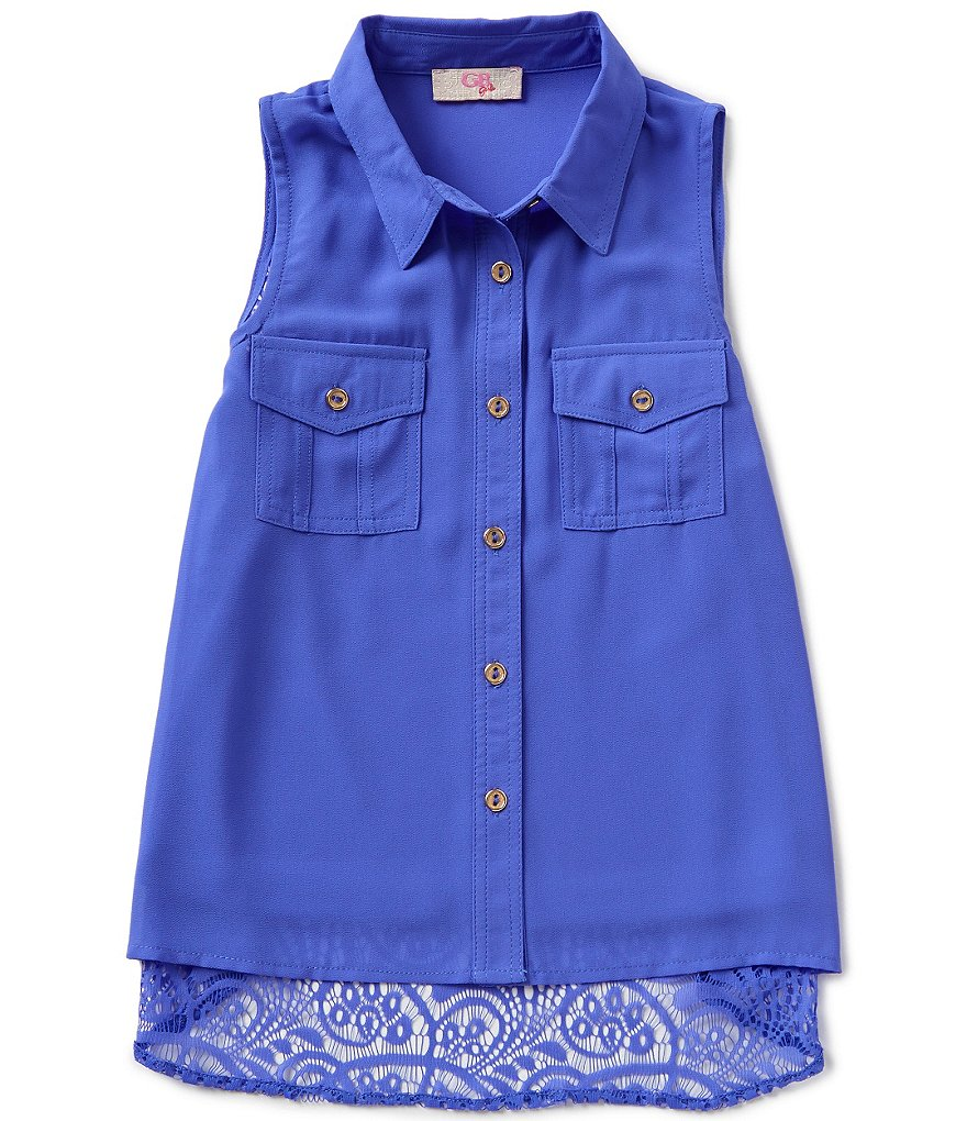 GB Girls Little Girls 4-6X Button-Front Lace-Back Tank