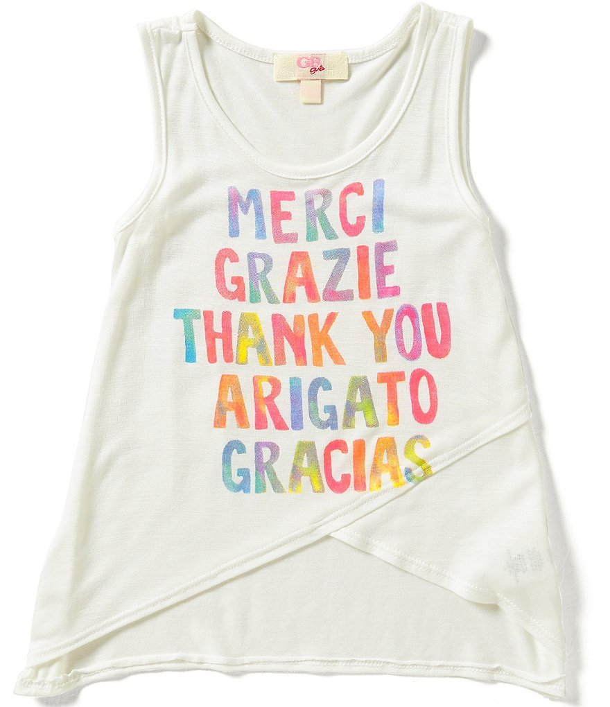 GB Girls Little Girls 4-6X Thank You Graphic Tank