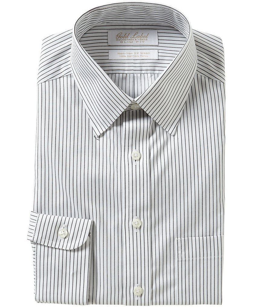 Gold Label Roundtree & Yorke Striped Slim-Fit Point-Collar Non-Iron Dress Shirt