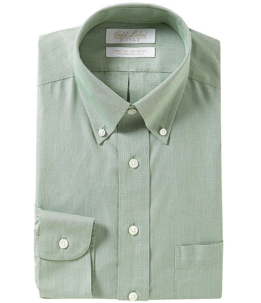 Gold Label Roundtree & Yorke Fitted Button-Down Collar Non-Iron Dress Shirt