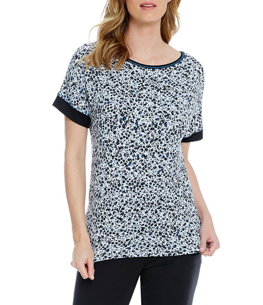 DKNY Leopard-Print Jersey Sleep Top