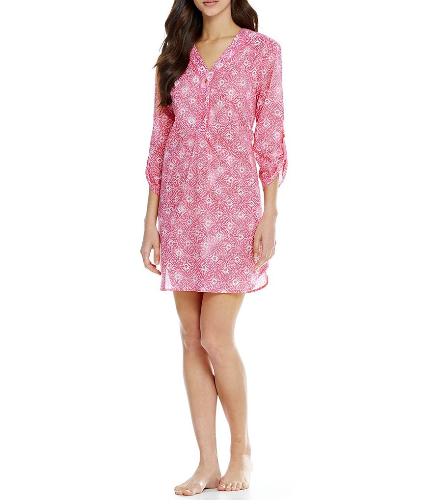 Karen Neuburger Medallion Henley Lounge Tunic