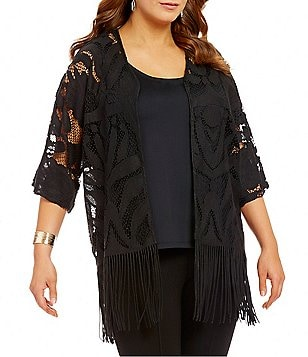 Multiples Plus Open Front Fringed Hem Lace Kimono Jacket