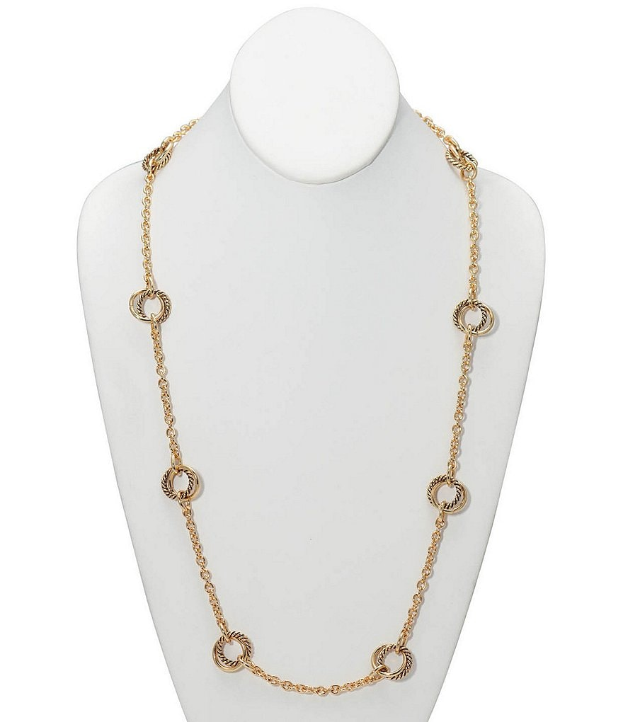 Lauren Ralph Lauren Circle Charm Station Necklace