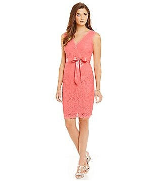 Adrianna Papell Petite Sleeveless Wrap-Front Lace Dress