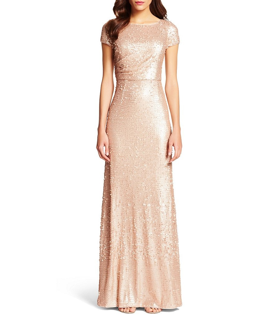 Adrianna Papell Petite Short-Sleeve Sequin Gown
