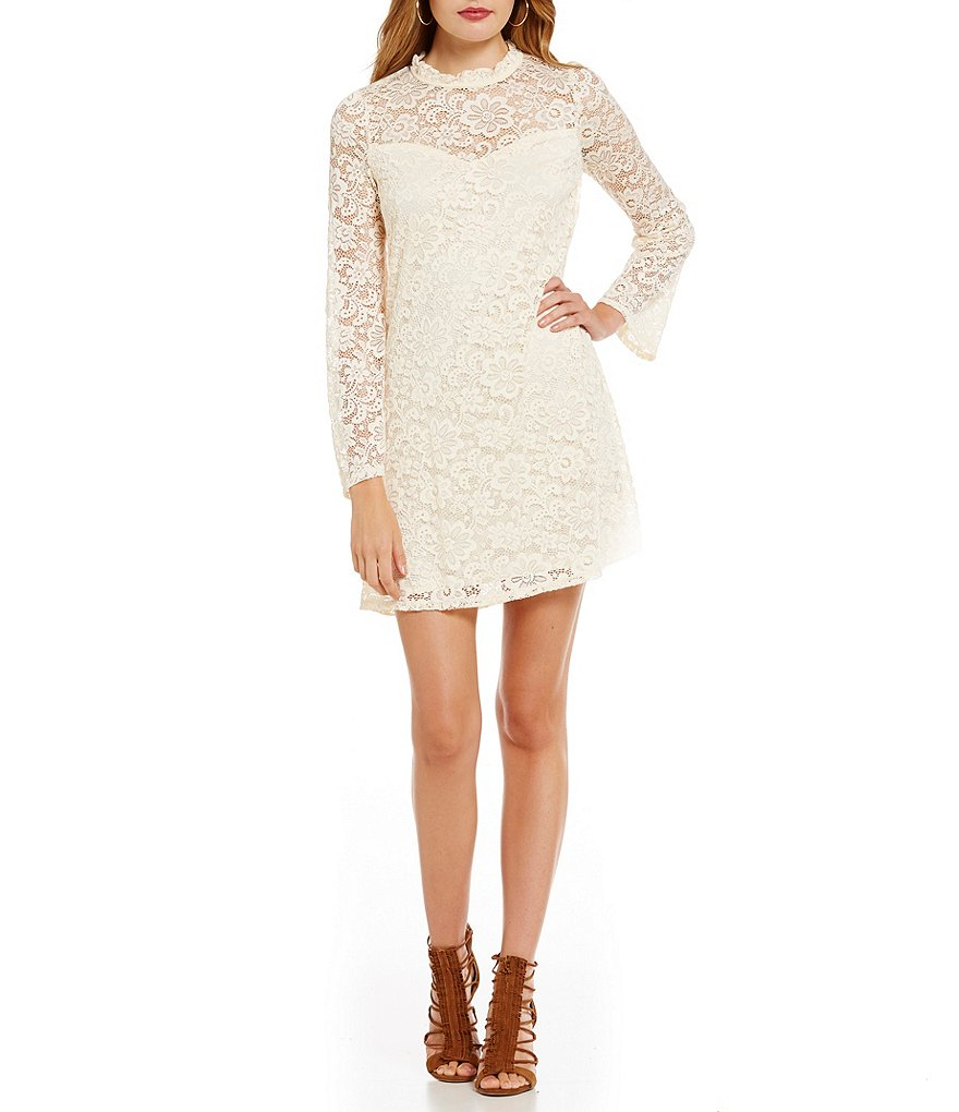 I.N. San Francisco Mock Neck Lace Trapeze Dress