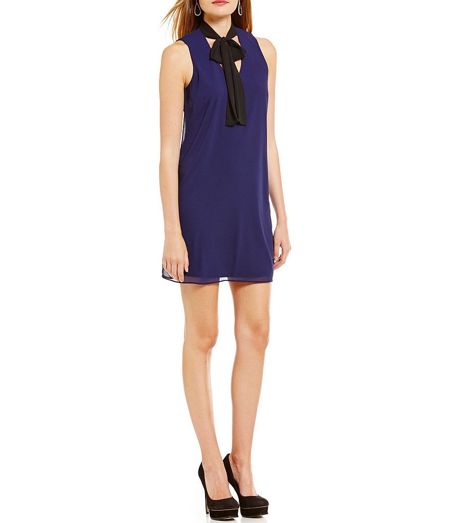 I.N. San Francisco Sleeveless Tie Neck Shift Dress