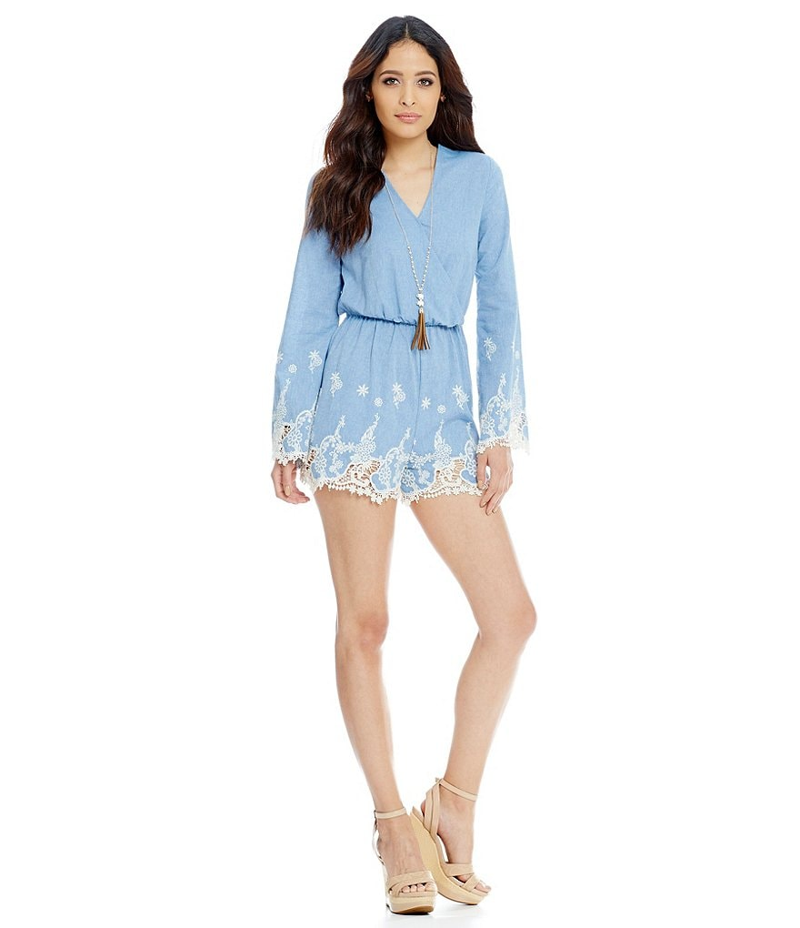 Gianni Bini Sadie Embroidered Bell Sleeve Romper