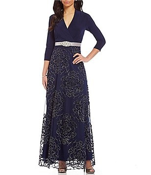 Leslie Fay 3/4 Sleeve Beaded Belt Mix Media Dress