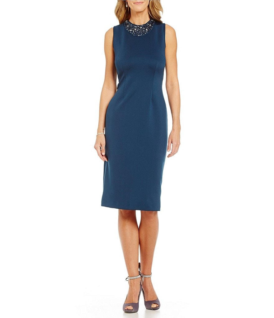 S.L. Fashions Beaded Neck Midi Scuba Sheath Dress