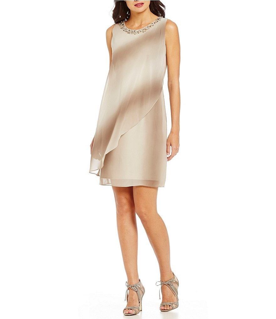 S.L.Fashions Ombre Beaded Neck Overlay Hem Dress