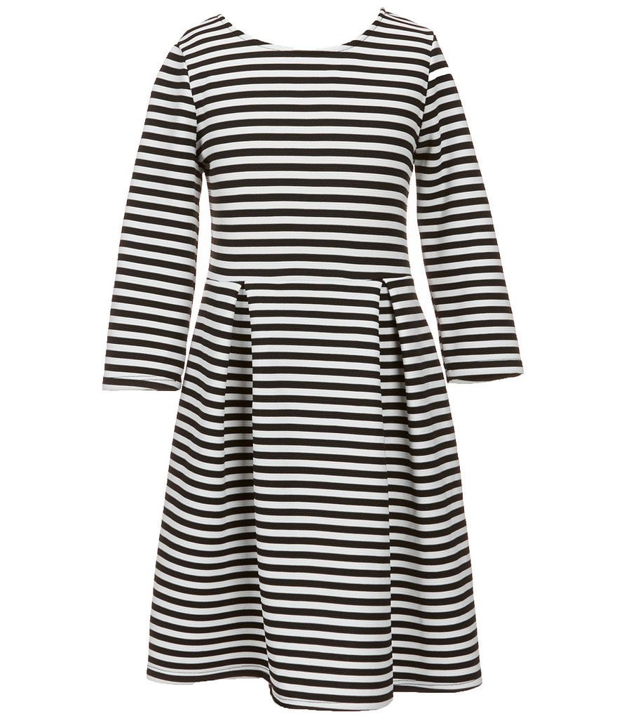 Soprano Big Girls 7-16 3/4-Sleeve Striped Skater Dress