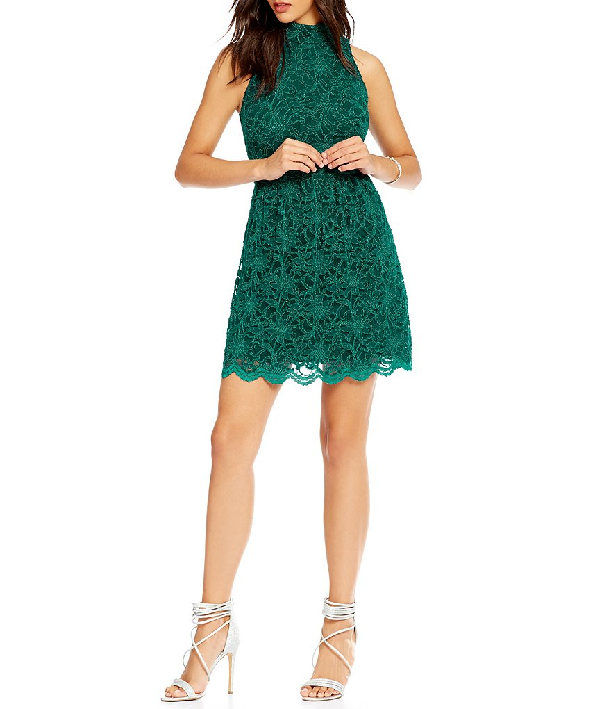 B. Darlin Mock Neck Lace Skater Dress