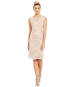Alex Evenings Embroidered Detail Illusion Neck Mock Dress