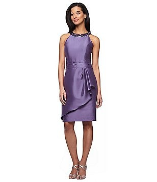 Alex Evenings Beaded Neckline Ruched Waist Drape Detail Short Dress