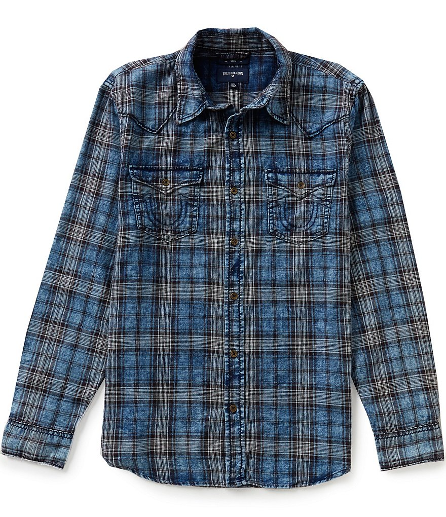 True Religion Long-Sleeve Indigo Western Plaid Shirt