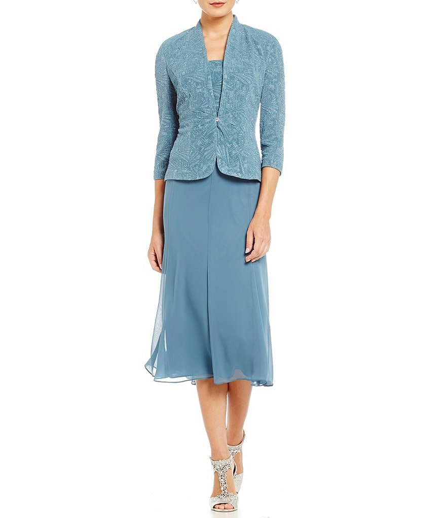 Alex Evenings 3/4 Sleeve Tea-Length Jacket Dress