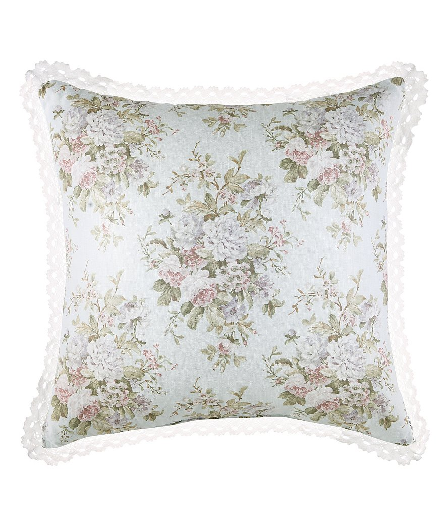 Piper & Wright Haley Lace-Trimmed Floral Square Pillow