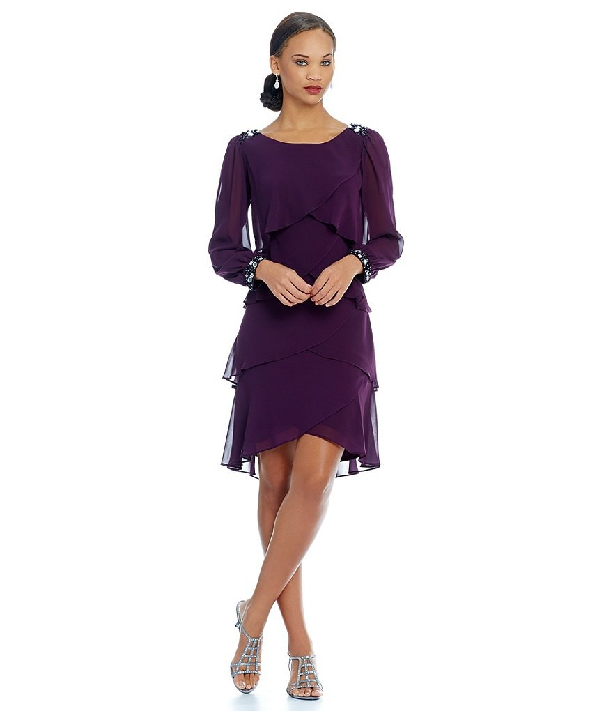 S.L. Fashions Long-Sleeve Bead-Trim Tiered Dress